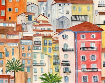 Cote d'Azure Menton France I travel art print of watercolor illustration