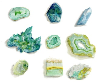 Watercolor Rock Collection Blue Crystals boho wall decor of watercolor print crystal painting