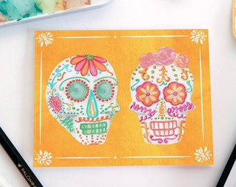 Sugar Skulls Halloween Greeting Card