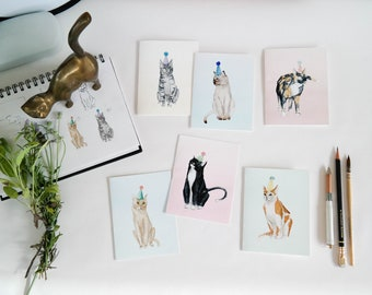 Party Cat Cards | blank watercolor card for birthday graduation hello card cat greeting cards