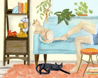 Cat Days of Summer art print of watercolor watercolor illustration