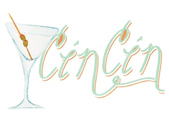 Cin cin martini cocktail art print