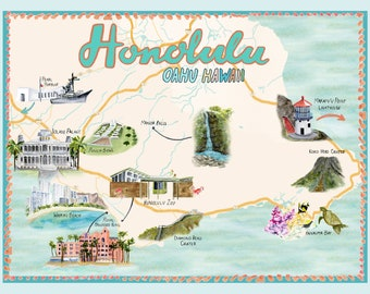 Honolulu Hawaii Illustrated Travel Map art print of watercolor illustration