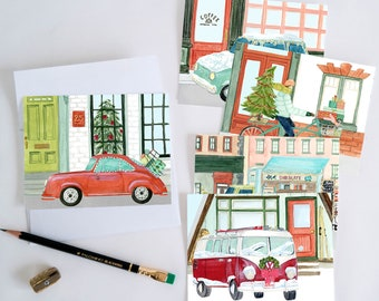 Holiday Card Festive Traffic Set of 10 Christmas Cards