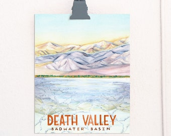 Death Valley California National Parks Travel Poster art print of watercolor illustration