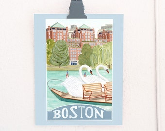 Boston Massachusetts Travel Poster art print of watercolor illustration