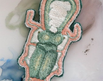 Mint Stag Beetle Hand-Embroidered Patch