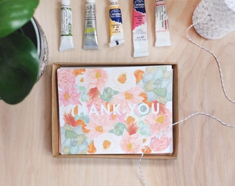 Thank You set of 5 floral note cards