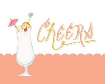 Cheers pina colada cocktail art print
