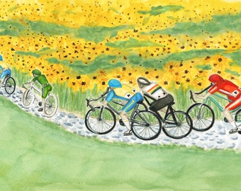 The Peloton Cycling Art Print of watercolor bicycle illustration