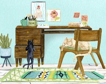 Desk Cats art print of watercolor painting