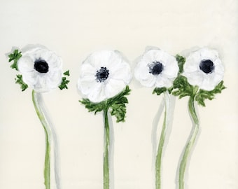 White Poppies Watercolor Botanical Study  art print of an original illustration *SALE - 20% OFF*