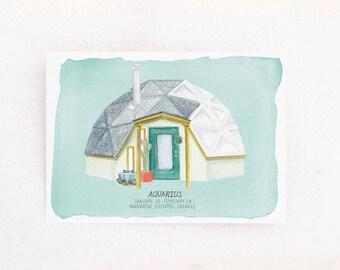 Aquarius Houses of the Zodiac Print of astrology illustration