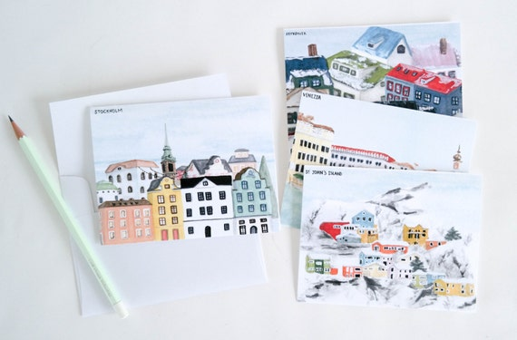 Holiday Card Set: Snowy Skylines (Set of 8)