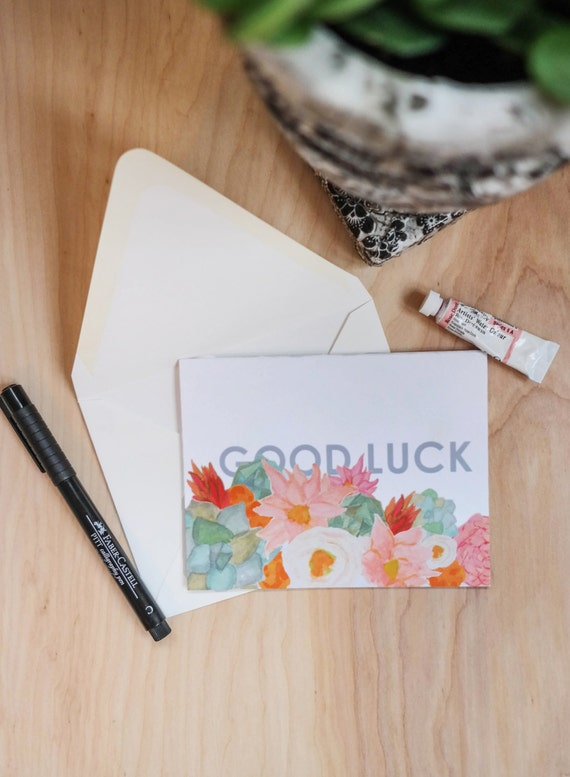 Floral Greeting Card Stationery Set: Good Luck set of 5 note cards *SALE*