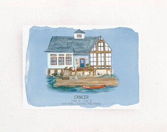 Cancer Houses of the Zodiac art print of watercolor astrology illustration