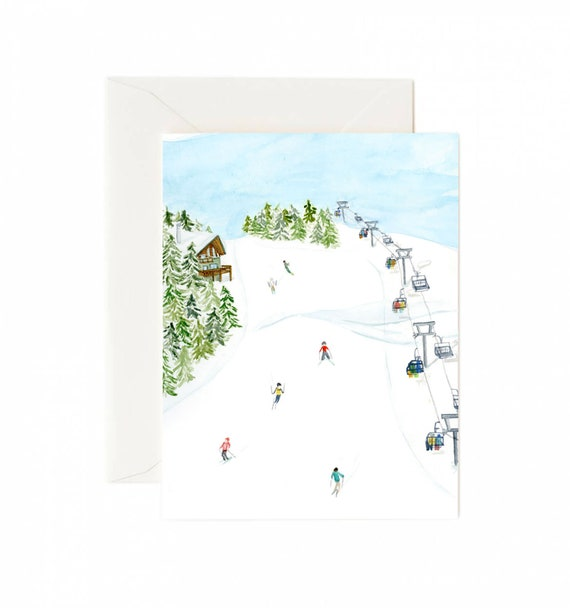 Holiday Card Set: Skiing (Set of 8)