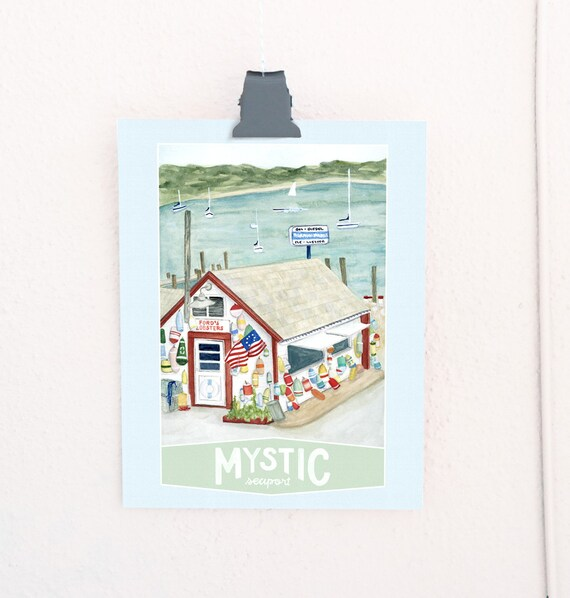 Mystic Seaport, Connecticut Travel Poster art print of an original watercolor illustration