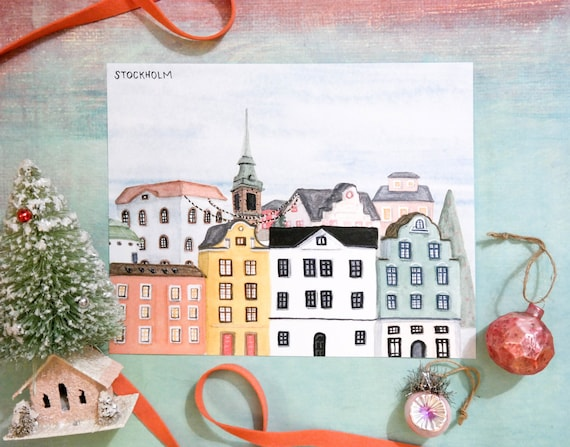 Christmas in Stockholm, Sweden Watercolor Art Print