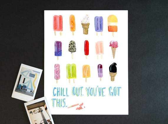 "Watercolor Wednesday Series: ""Chill out"" art print of an original watercolor illustration"