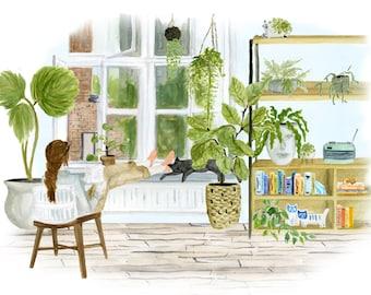 Greenloft art print of watercolor illustration