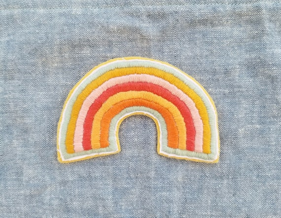 Hand Embroidered Pink Rainbow Patch *SOLD OUT*