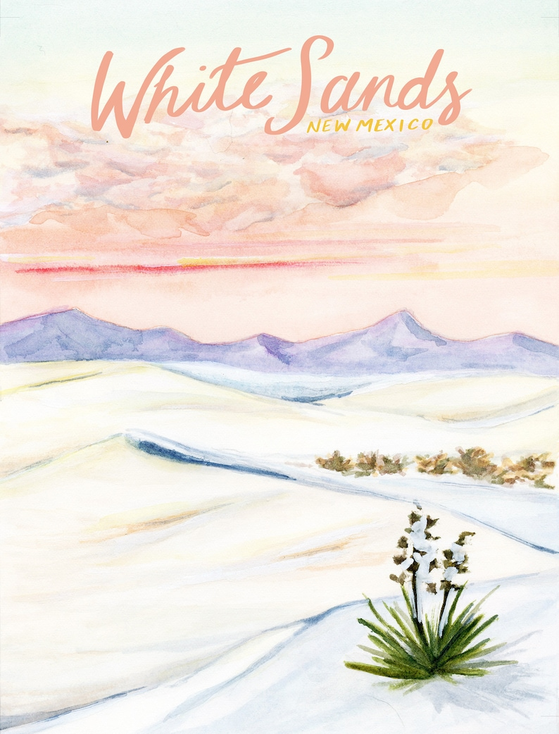 White Sands New Mexico National Monuments Travel Poster art image 1