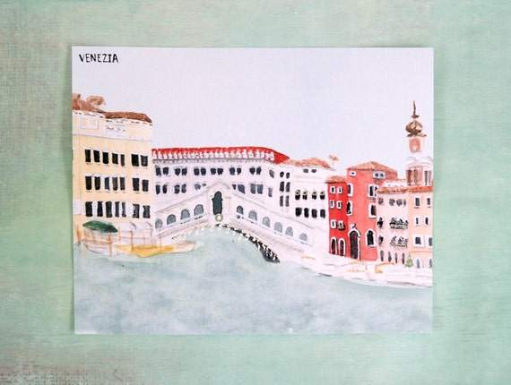 Christmas in Venice, Italy Watercolor Art Print