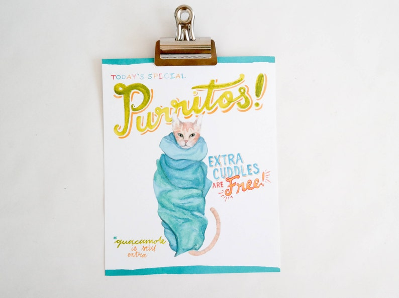 Purritos cat art print of watercolor illustration image 0
