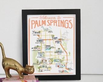 Palm Springs, California Illustrated Travel Map - print of an original watercolor