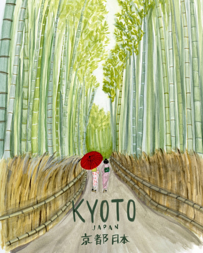 Kyoto Japan Travel Poster art print of watercolor illustration image 0