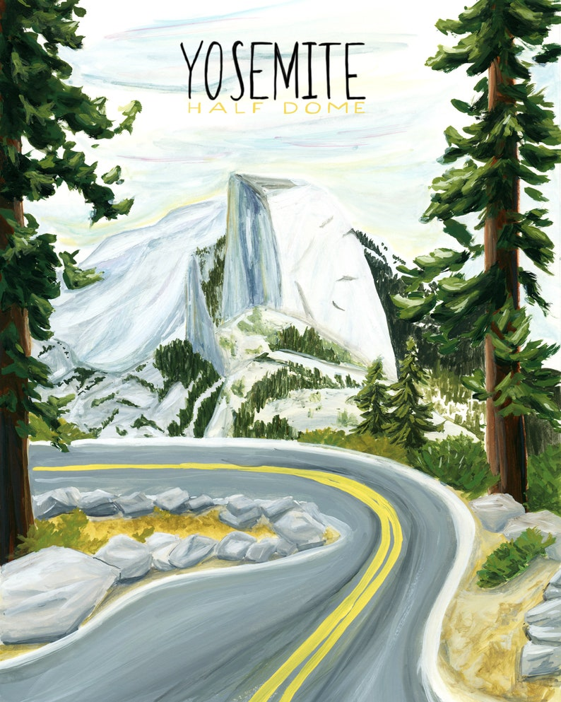 Yosemite California National Parks Travel Poster print of image 0