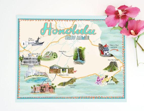 Honolulu, Hawaii Illustrated Travel Map - print of an original watercolor