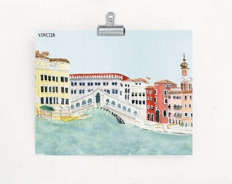 Christmas in Venice Italy travel art print of watercolor painting