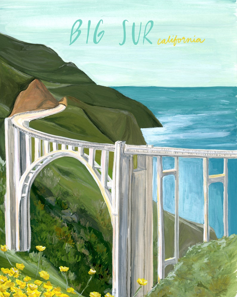 Big Sur California Travel Poster print of watercolor image 0