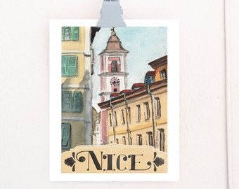 Nice France Watercolor Travel Poster art print of watercolor illustration **OLD**