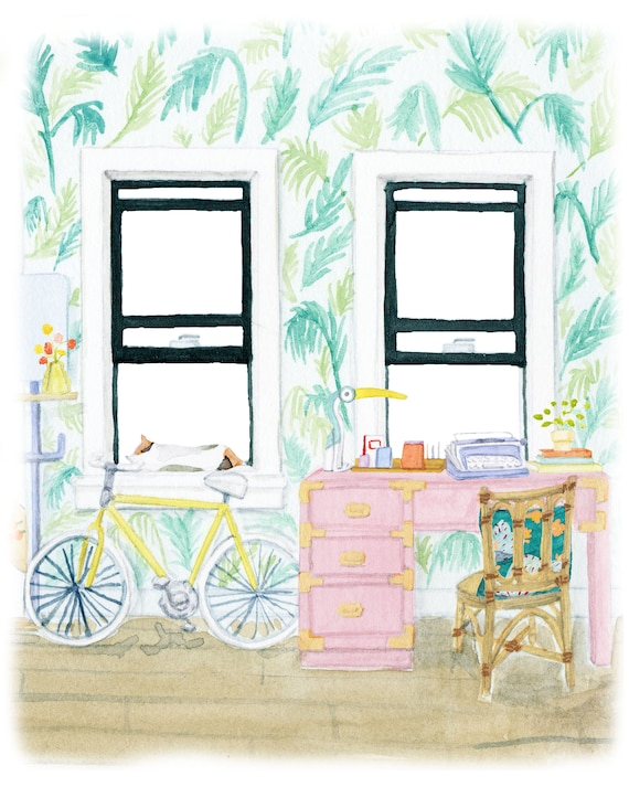Palm printed room art print of an original watercolor illustration
