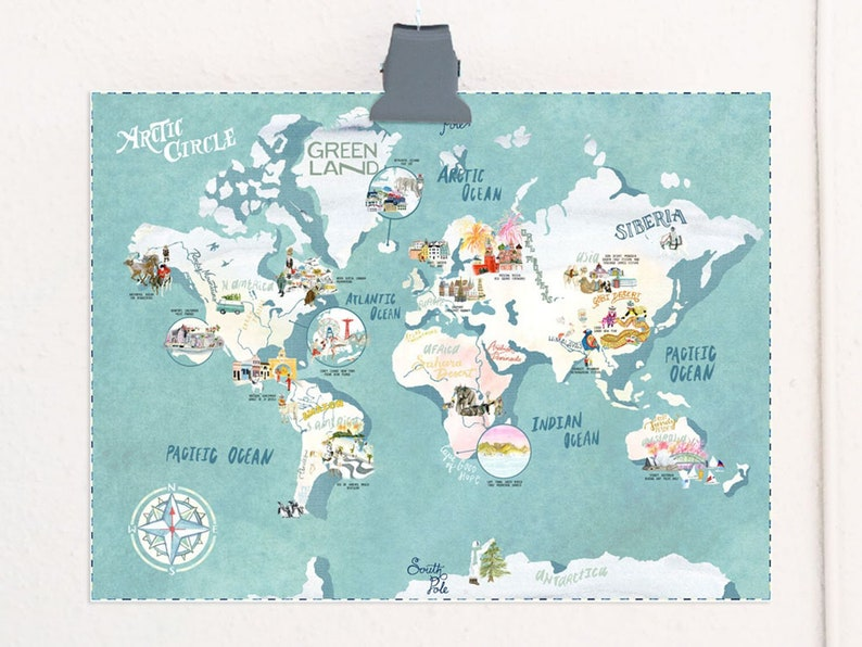 Southern Solstice Celebrations illustrated map travel print image 1