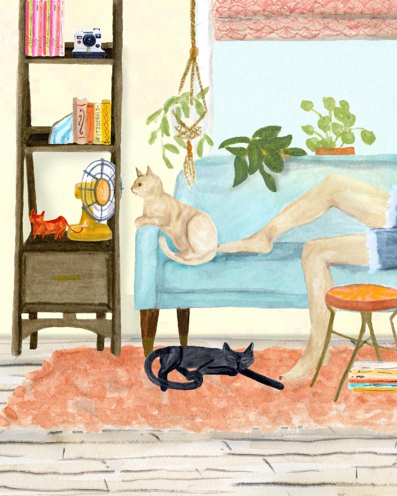 Cat Days of Summer art print of watercolor watercolor image 0