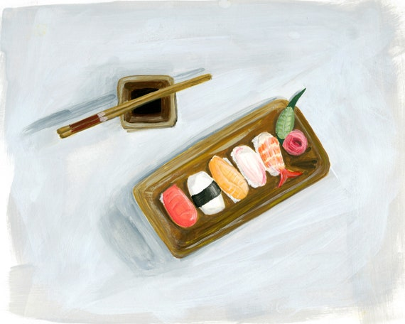 Sushi art print of watercolor illustration