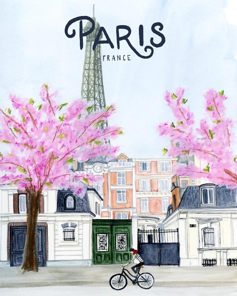 Paris Print  Eiffel Tower travel poster Paris poster art image 0