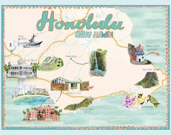 Honolulu Hawaii Illustrated Travel Map art print of watercolor illustration