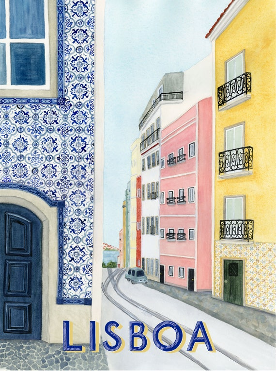 Lisbon, Portugal Travel Poster art print of an original watercolor illustration