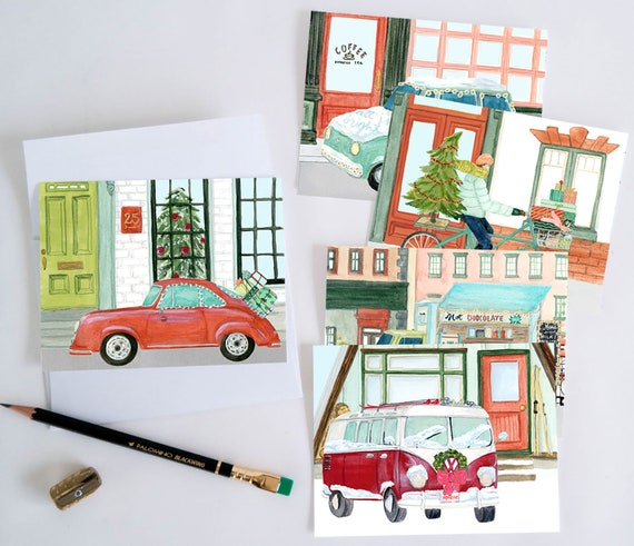 Holiday Card Set: Festive Traffic (Set of 10)