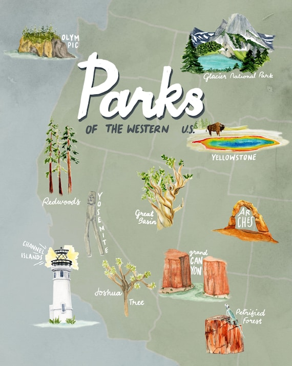 National Park Map Western Us National Parks of the Western U.S. Map Travel Poster | Etsy