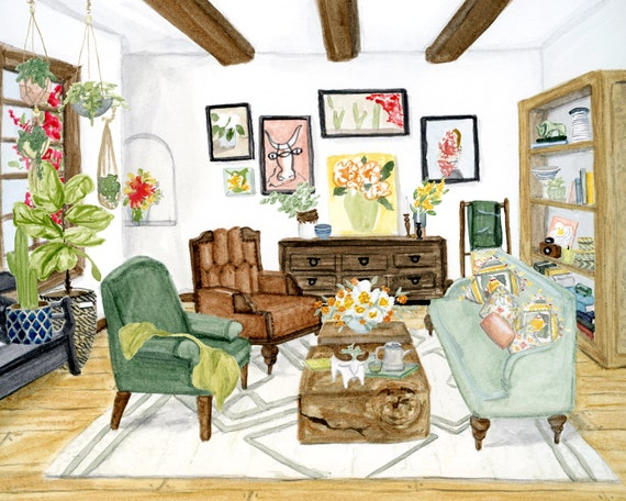 Spanish Bungalow art print of interior watercolor illustration
