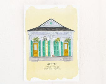 Gemini Houses of the Zodiac Print of astrology illustration