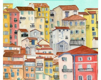 Cote d'Azure France Travel Poster art print of an original watercolor illustration *OLD*
