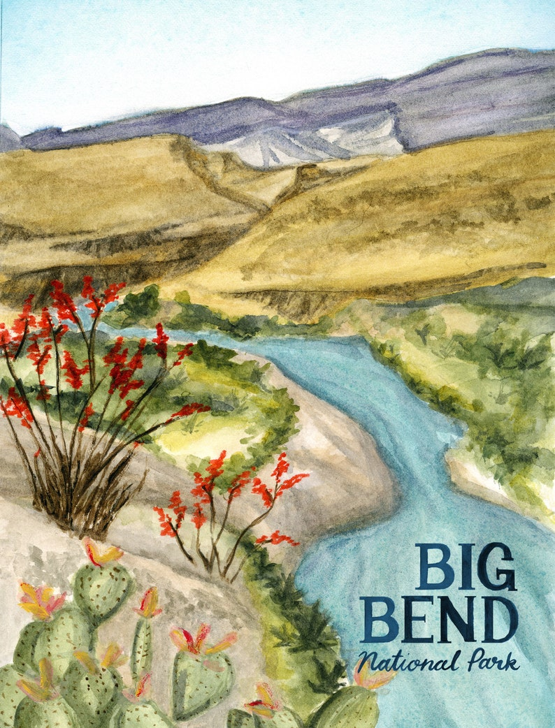 Big Bend Texas National Parks Travel Poster art print of image 0