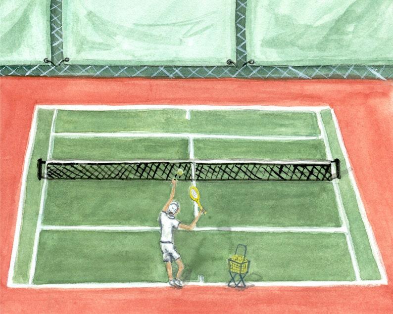 Ace Tennis wall art print  watercolor tennis illustration image 0